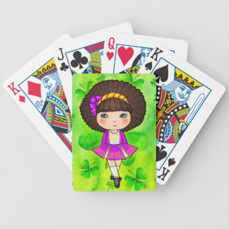 Irish dancing girl in violet dress bicycle playing cards
