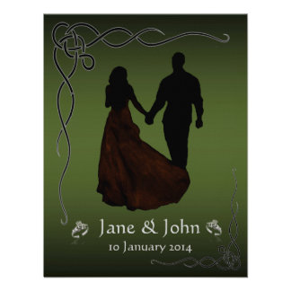 Irish Dark Green wedding Custom Announcement