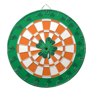 Irish Dartboard: Shamrock Green, Orange, And White Dartboard