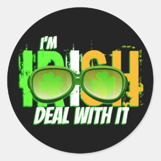 Irish Deal With It Round Stickers