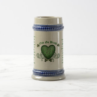 Irish drinking mug Erin go bragh Irish heart