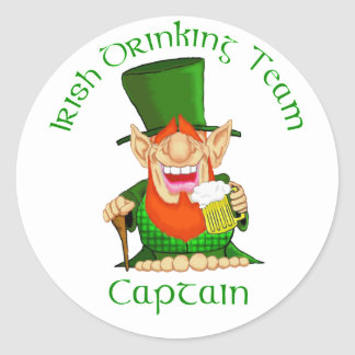 Irish Drinking Team ~ Captain Round Stickers