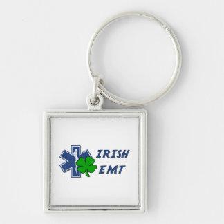 Irish EMT Silver-Colored Square Key Ring