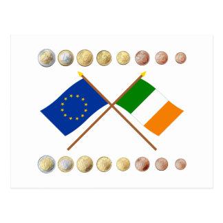 Irish Euros and EU & Ireland Flags Postcard