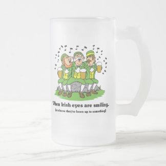 Irish eyes are smiling frosted glass mug