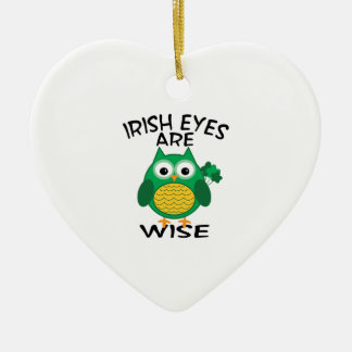 Irish Eyes Ceramic Heart Ornament