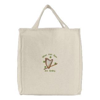 Irish Eyes Embroidered Tote Bag