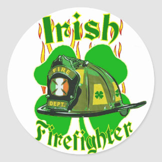 Irish firefighter classic round sticker