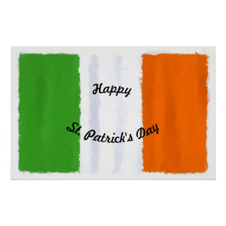 Irish flag, banner, St. Patrick's Day watercolor Poster