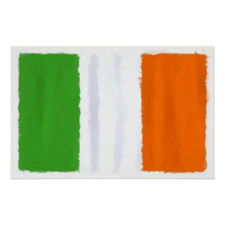 Irish flag, banner, tricolor watercolor poster