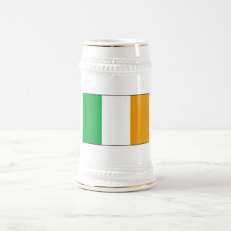Irish Flag Beer Stein with Shamrocks