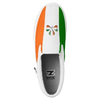 Irish Flag Colors Themed Shamrock Slip On Shoes