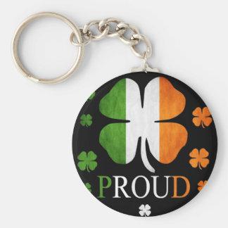 Irish flag four leaf clover basic round button key ring