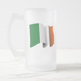 Irish Flag Frosted Glass Beer Mug