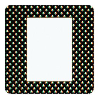 Irish Flag-Green/White/Orange-Colored Shamrocks 13 Cm X 13 Cm Square Invitation Card
