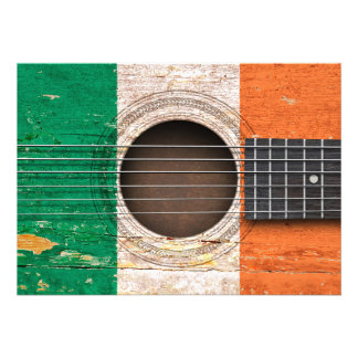 Irish Flag on Old Acoustic Guitar Personalized Announcements
