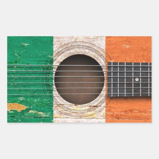 Irish Flag on Old Acoustic Guitar Rectangular Sticker