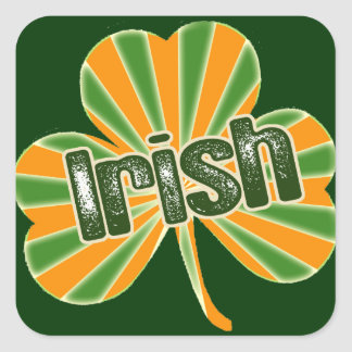 Irish Flag Shamrock Square Sticker