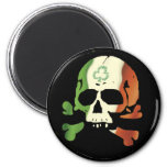 Irish flag skull 6 cm round magnet