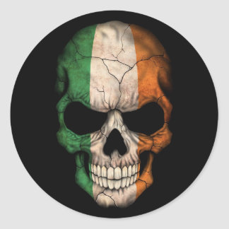 Irish Flag Skull on Black Classic Round Sticker