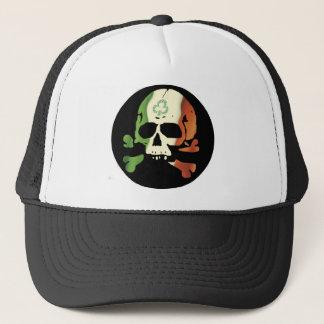 Irish flag skull trucker hat
