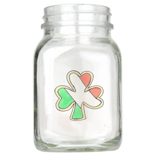 Irish Flag St. Patrick's Day Shamrock Centerpiece Mason Jar