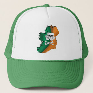 IRISH FLAG. ST PATRICKS IRISH PIRATE FLAG MAP TRUCKER HAT
