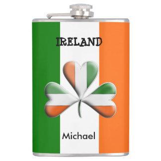 Irish Flag Tri Colours Themed Shamrock Flask
