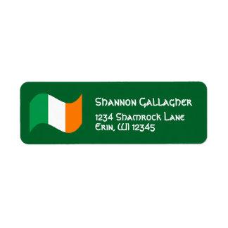 Irish Flag with Celtic Font Return Address Label