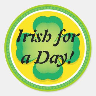 Irish for a Day Clover Classic Round Sticker