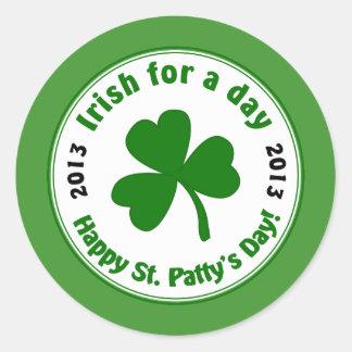 Irish For a Day St Patty's 2013 Shamrock Stickers