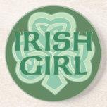 Irish Girl Celtic Knot Shamrock Coaster