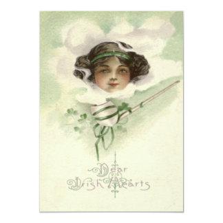Irish Girl Clay Pipe Smoke Shamrock 13 Cm X 18 Cm Invitation Card