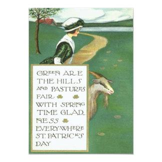 Irish Girl Goat Pasture 13 Cm X 18 Cm Invitation Card