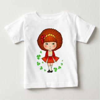 Irish girl in red dress with shamrocks