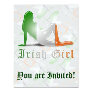 Irish Girl Silhouette Flag 11 Cm X 14 Cm Invitation Card