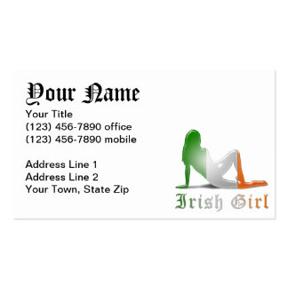 Irish Girl Silhouette Flag Business Card Templates