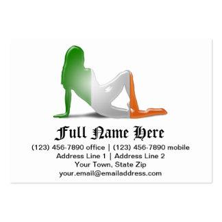 Irish Girl Silhouette Flag Business Cards