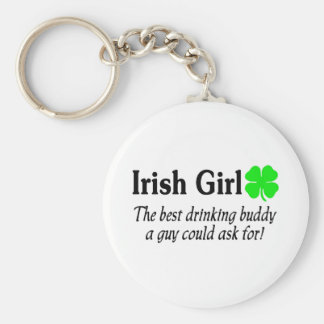 Irish Girl The Best Drinking Buddy A Guy Could Ask Basic Round Button Key Ring