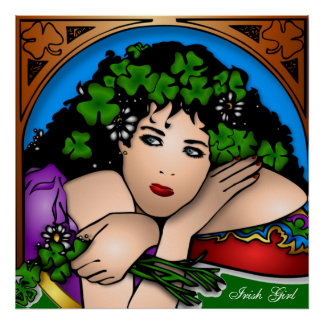 Irish Girl With Shamrocks In Her Hair St. Patty's Poster