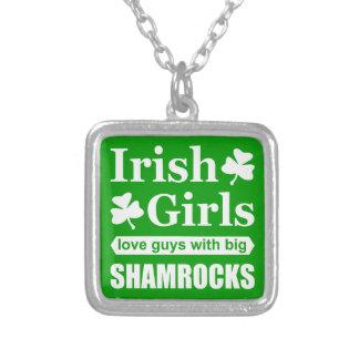 Irish Girls Love Big Shamrocks Funny Square Pendant Necklace
