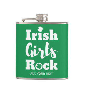 Irish Girls Rock Cute St. Patrick's Day Hip Flask