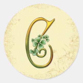 Irish Gold Monogram C Classic Round Sticker