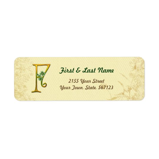 Irish Gold Monogram F Label Return Address Label
