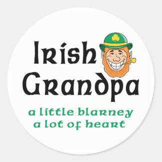 Irish Grandpa Gift Round Stickers