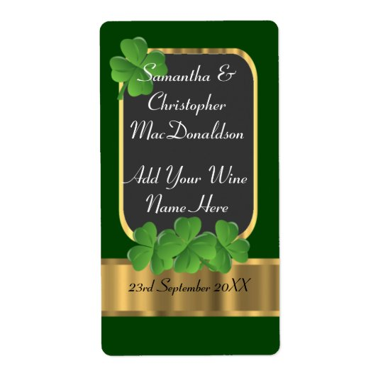 Irish green and gold wedding wine bottle shipping label