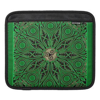 Irish Green Celtic Triskele Mandala Sleeves For iPads