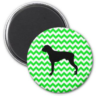 Irish Green Chevron with Boxer Silhouette 6 Cm Round Magnet