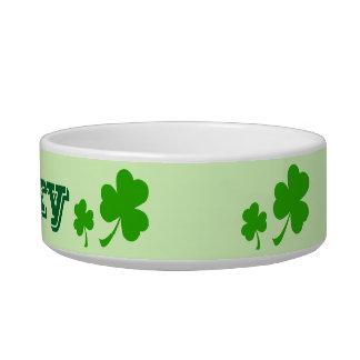 Irish green clover lucky shamrock pet bowl