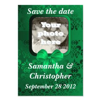 Irish green damask add your photo save the date card